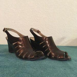 Life Stride Brown High Heel Wedge Sandal, Size 8.5